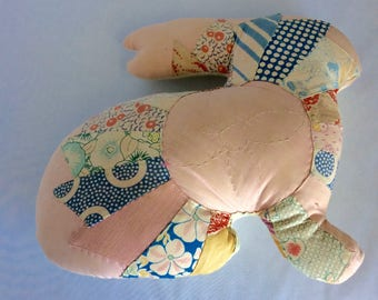 Bunny Pillow, from vintage quilt, Pink bunny, stuffed bunny, nursery decor, quilt bunny, patchwork rabbit, pink blue yellow