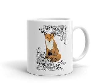 Fox & Scroll Design Coffee Cup Mug Foxes Woodland Creature