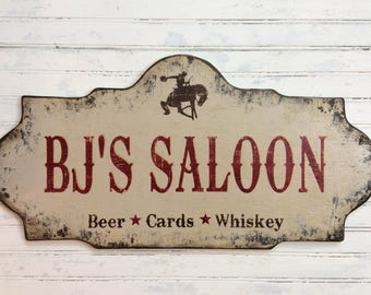 PERSONALIZED,  custom Saloon Bar sign, rustic bar sign, western shabby cottage handmade wooden