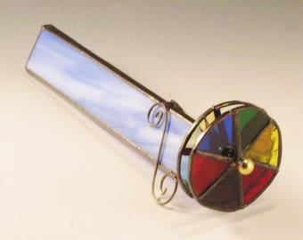 Stained Glass Kaleidoscope - Blue and White Streaky