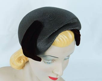 1950s Vintage Hat Brown Asymmetrical Straw and Velvet Clip by Janet