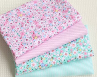 4709 - Flower & Stripe Cotton Fabric - 62 Inch (Width) x 1/2 Yard (Length)