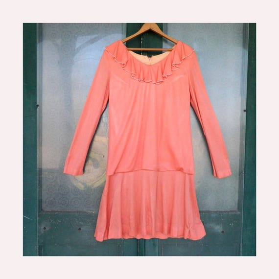 Vintage 1920s-Style Dress -M- Peachy Pink Polyester Pique