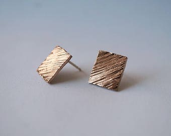 SQUARE TEXTURED stud earrings - sterling silver or bronze