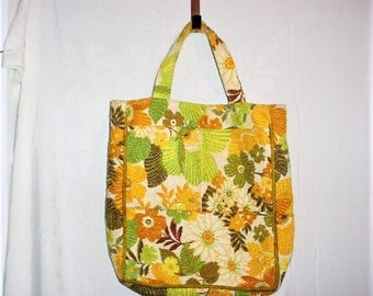 Vintage 70s Green Beige Couch Cushion Tote Bag Flower Print