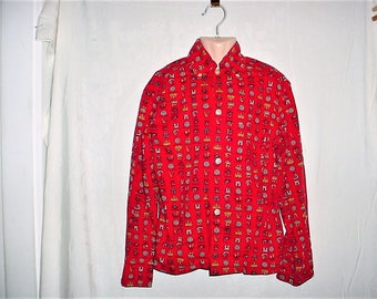 Vintage 60s Boys Red Check United Nations Cotton Button Up Shirt M