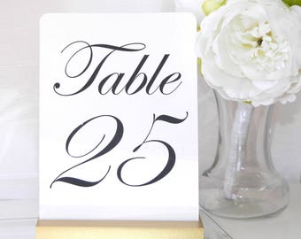 Table Number Cards with Gold Stands (5 x 7)