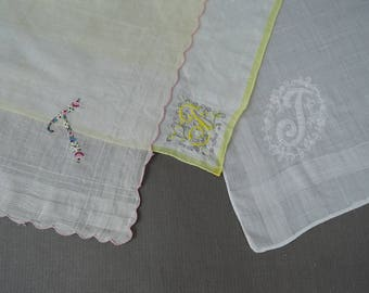 3 Vintage Hankies with T Monogram,  1950s Novelty Personalized Embroidered Hankie