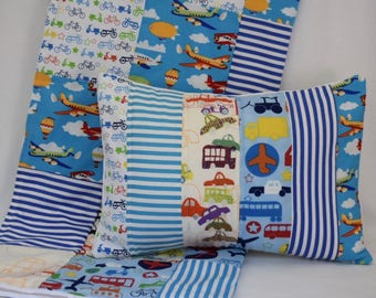Transportation Quilted Pillow Cover 12x16 Inches -  Cars, Bus, Airplanes, Bicycles, Tractors, I Spy, Stripes, Primary Colors, Nursery