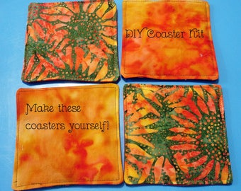 DIY Quilted Coaster Kit - Batik Sunflowers - Easy Instructions