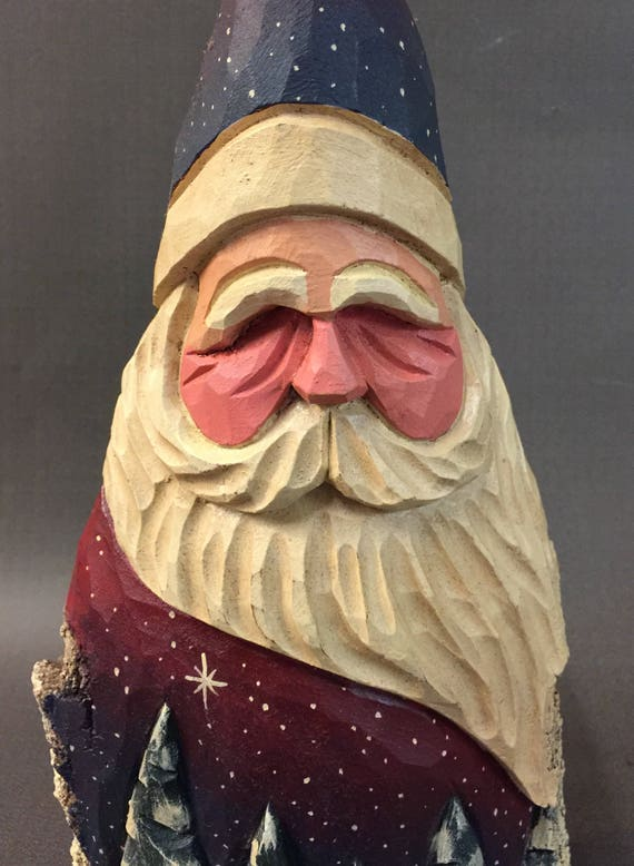 HAND CARVED original night sky Santa w/ carved trees from 100 year old Cottonwood Bark.