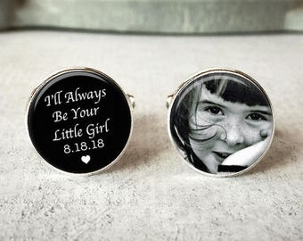 Father Of The Bride Cufflinks, Personalized Cufflinks, Wedding Cuff links, I'll Always Be Your Little Girl, Wedding Keepsake, Gift For Dad
