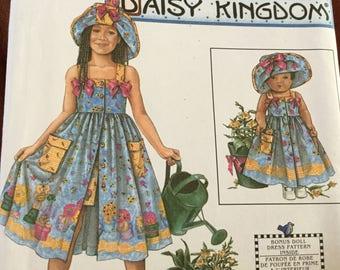 Simplicity 8145 Daisy Kingdom Childs Dress, Hat and Doll Dress Pattern, size 3-6 uncut