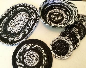 4 Coiled Fabric Black White Coasters, 8 Inch Bowl, 8 and 10 Inch Mat Set, Candle Mat, Mug Rug  - Home and Living, Kitchen,  handmade