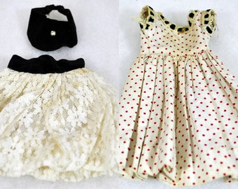 Vintage Vogue Doll Dresses -Jill Outfits - Red Polka Dot with Black Velvet and White Lace Skirt with Black Velvet Top and Waist