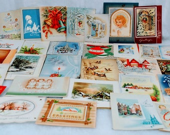Vintage Christmas Cards Holiday Greetings from the 1940s 1950s Group of 30 - Angels, Candles, Houses, Trees, Bells, Lights