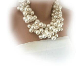 Pearl Choker,  Pearl Necklace , Handmade Layered Brides Statement Pearl Necklace,