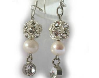 Pearl Wedding Earrings,  Gifts, Brides Jewellery Earrings with 11mm Freshwater Pearl