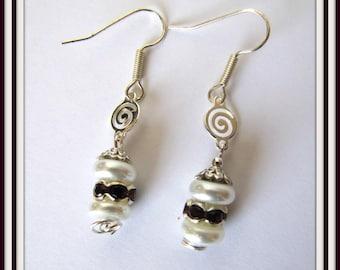 White  Pearl Earrings, Garnet Rondel Rhinestones, Dangle Earrings, Drop Earrings, Faux Pearl Earrings, Surgical Steel Fishhook Earwire #1242