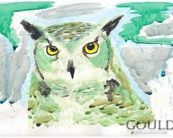 Green Great Horned Owl