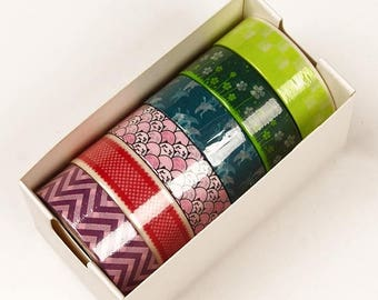Summer Sale 6 piece packs 10 Yards of Colorful Japanese Inspired Pattern Washi Tape Assortment