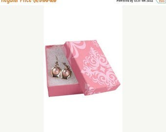 Summer Sale 50 Pack of 3.25X2.25X1 Inch Size High Quality Pink Damask Cotton Filled Jewelry Presentation Boxes