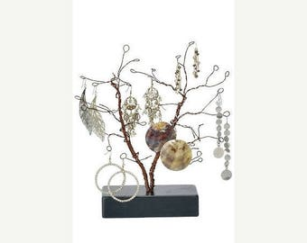 STOREWIDE SALE 10.5 Inch Tall Forged Wire Jewelry Display Whimsical Design Tree