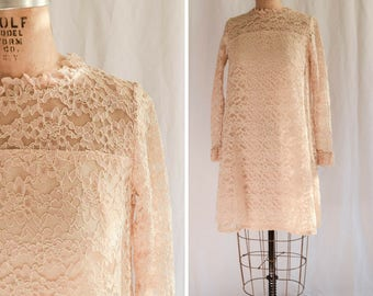 Ronnie | Vintage 1960's Dress Ivory Alencon Lace City Hall Bride Vintage Bridal All Over Lace Sheer Long Sleeves 60s Tent Dress Bust 34-35""