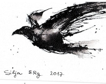 Mini ink painting on canvas 3,5x2,5in art card - flying bird crow art