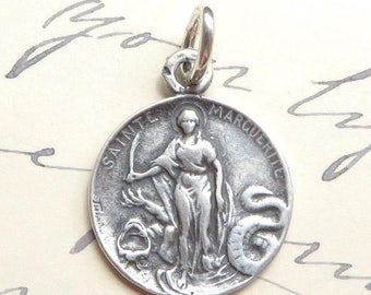 ON SALE St Margaret Medal - Patron of childbirth & pregnant women- Antique Reproduction