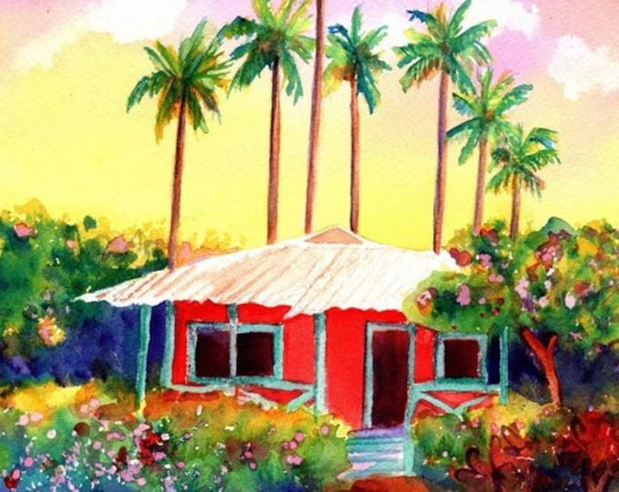 Mele Kalikimaka Hawaiian Cottage Printable DIY Christmas card 5x7 pdf from Kauai Hawaii tropical house maui oahu
