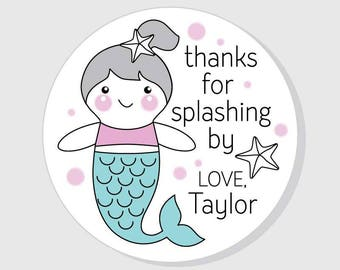 Mermaid thanks for splashing by Birthday Party stickers - Birthday Stickers - Personalized Girl - Favors - Envelope Seal