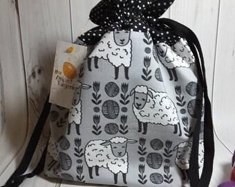 Sheep and Wool Drawstring Project Bag- Medium- Knitting- Crochet- Needlearts- Crafting- Artist
