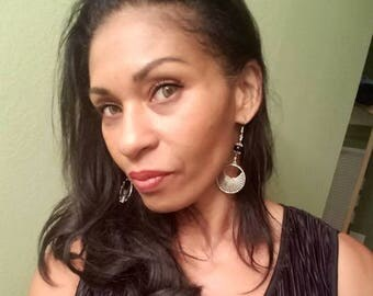 Large Silver & Black Onyx Gemstone Winged Heart Medallion Earrings