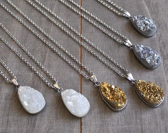 Chunky Gold Druzy Natural Silver or White Druzy Necklace Chose Your Color Bohemian Jewelry Modern Boho Gifts Layering Necklaces