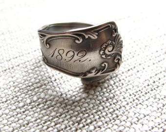 Victorian Spoon Ring sterling silver  -  antique engraved 1892