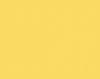 Riley Blake Designs, White Swiss Dot on Yellow  (C670 50)