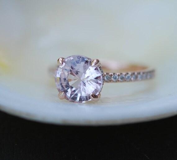 2.47ct White Sapphire round ring. Rose Gold Diamond Ring, Rose Gold Engagement Ring, Diamond Engagement Ring by Eidelprecious