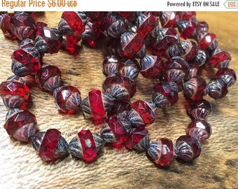 ON SALE 15 Ruby Red with Picasso Carved Czech Glass Turbine Beads 11mm x 10mm 0014