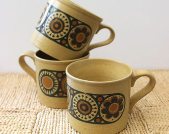 Set of three vintage 1970s Kilncraft mugs or cups, made in Staffordshire England.