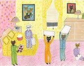 Pajama party. Limited edition print by Vivienne Strauss