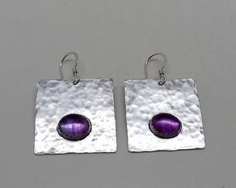 Sterling amethyst  jewelry earrings.