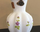 """Fenton Violets in the Snow Ruffle Vase with Original Sticker 6"""" Tall"""