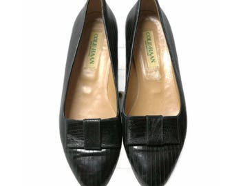 80's cole haan black leather flats