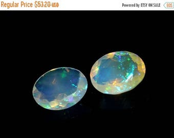 50% Off Sale 2 Pcs 9x7 mm 2.90 Ctw AAA Natural Multi Color Play Ethiopian Welo Fire Opal Faceted Oval Cut Stone, Loose Opal Gemstone OPS263