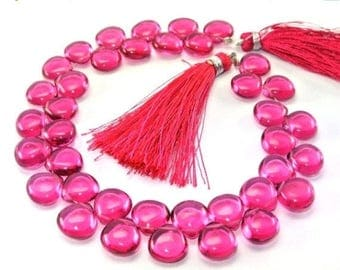 50% Off Sale On Sale 1/2 Strand - AAA Rubelite Pink Quartz Smooth Heart Briolettes Size 10x10mm approx.