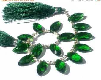 50% Off Sale 7 Inches -  Finest Quality AAA Green Quartz Faceted Marquise Briolettes Size 14x7mm approx Wholesale Price