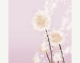 50% Off Summer Sale - Dandelion Artwork - Perennial Moment (pink) - 8x10 Print - Modern Floral