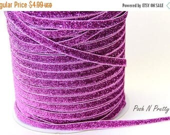 20% OFF EXP 06/30 3/8 Glitter Stretch Velvet Elastic 5 YARDS - No Flake - Orchid Pink