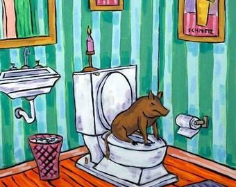 20 % off storewide Brown Pig in the Bathroom Animal Art Print  JSCHMETZ modern abstract folk pop art AMERICAN ART gift